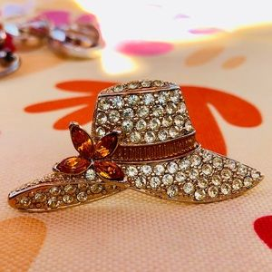 Monet hat brooch with rhinestone accents